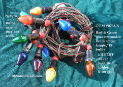 0798-A Gilbert 1959 light string w/wooden beads & bakelite holders.