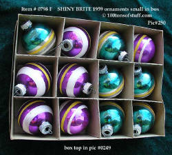 0798 F box of 12 Shiny Brite small ornaments - purple & white stripe and green & white stripe in orig box.