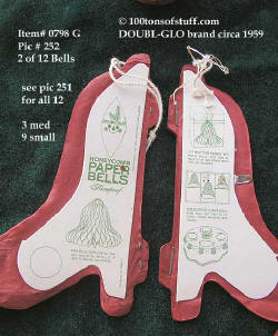 0798 G - Closeup of 2 DOUBL-GLO red paper bells 1950's never used 12 count