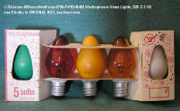 0798-P-PB246492 Westinghouse Xmas Lights, D26 C-7-1/2 size 5 bulbs in ORIGINAL BOX, box front view.