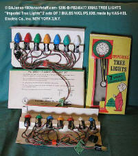 "1206-B-PB246477 XMAS TREE LIGHTS ""Imperial Tree Lights"" 2 sets OF 7 BULBS W/CLIPS.IOB, made by KAS-KEL Electric Co., inc. NEW YORK 3,N.Y."