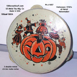 Item 1661A view 2 - face of Halloween 1950's metal noisemaker for sale