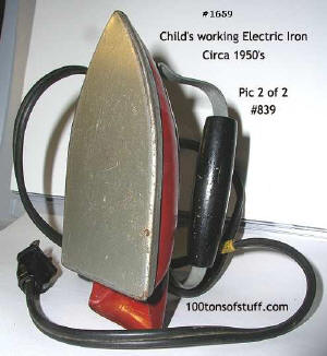 100tos1659: Child Size Electric Iron Red base, wood grip, works