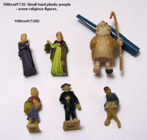 100tos1730D: 6 hard plastic people miniatures some religious figures.