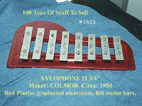 #1623 Redplastic Colmore Xylophone shaped like a pians 1950's
