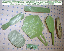 #0930 D Ladies 7 pc Green marbleized celluloid vanity set - top