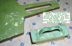 #0930 D Ladies 7 pc Green marbleized celluloid vanity set - curved top of nail brush.